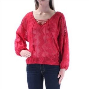 Sanctuary Cheyenne Lace Inset Embroidered Blouse